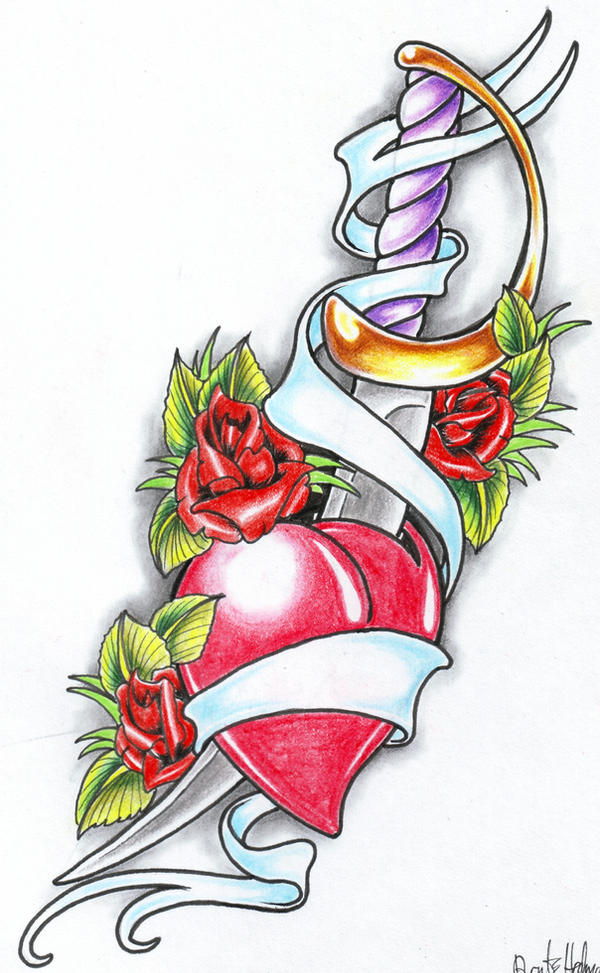 Rose and heart with banner tattoo