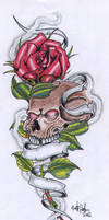 Rose And Skull with Banner by vikingtattoo