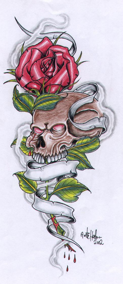 Rose And Skull With Banner By Vikingtattoo On Deviantart