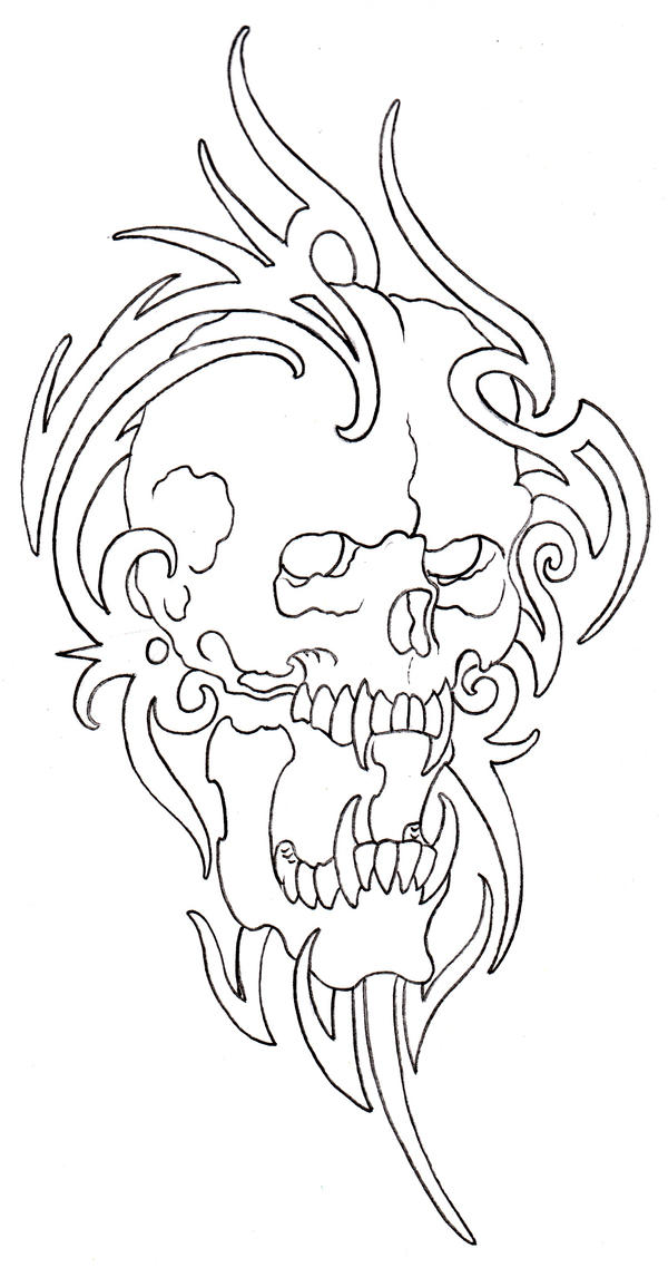 Tattoo Drawing Outline : Tribal skull outline by vikingtattoo on deviantart