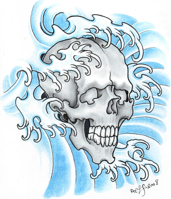 Water Skull 2008 by vikingtattoo