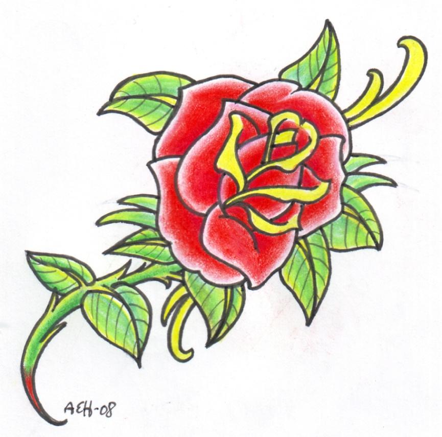 Old School Rose 2 by vikingtattoo
