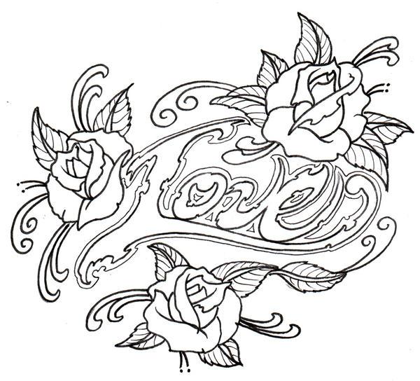 Love Tattoo Outlines: Loveroses Outline By Vikingtattoo On DeviantArt