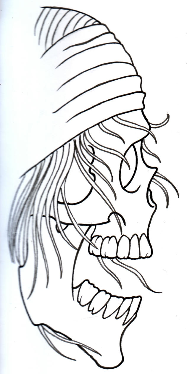 Pirate Rocker Skull Outline by vikingtattoo on DeviantArt