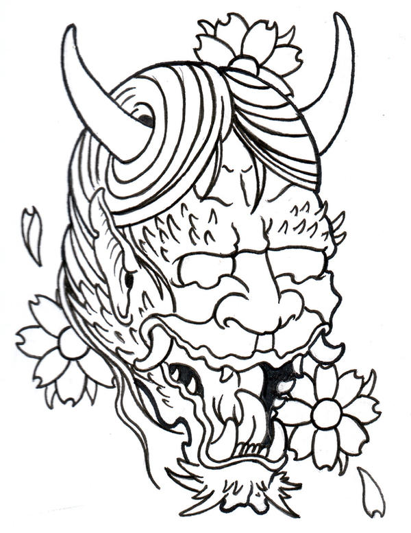 Japanese Tattoo Line Drawing : Japanese demon outline by vikingtattoo on deviantart