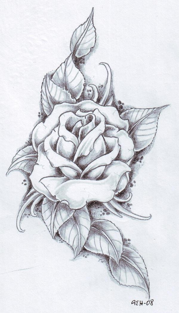 картинки розы чёрно-белые