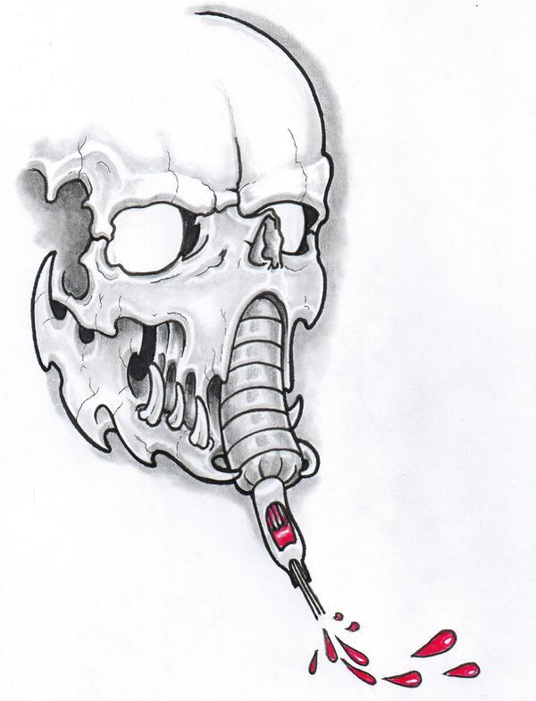 Tattoo Machine Skull by