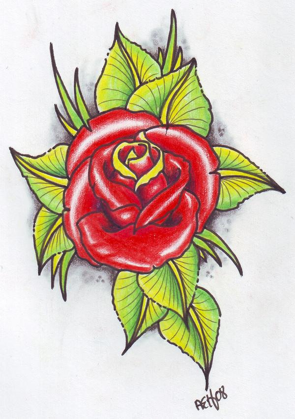 neo trad rose tattoo f...