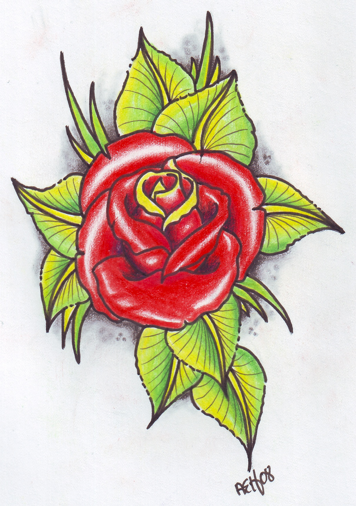 Neo traditional rose