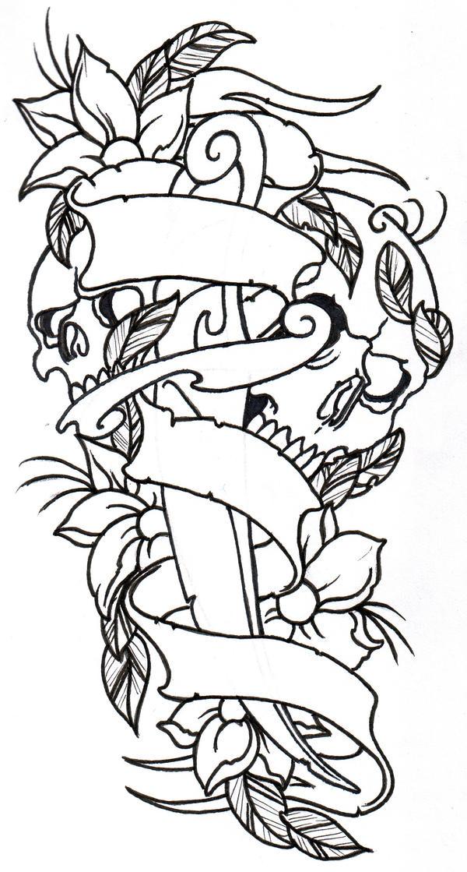 dagger skulls flowers outline by vikingtattoo on deviantart. Black Bedroom Furniture Sets. Home Design Ideas