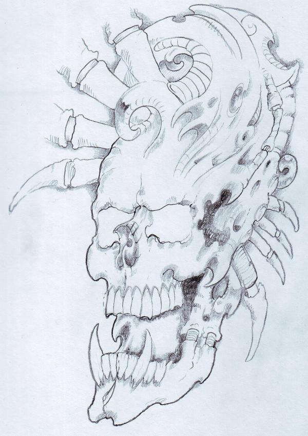 Biomech Skull Sketch by vikingtattoo on deviantART
