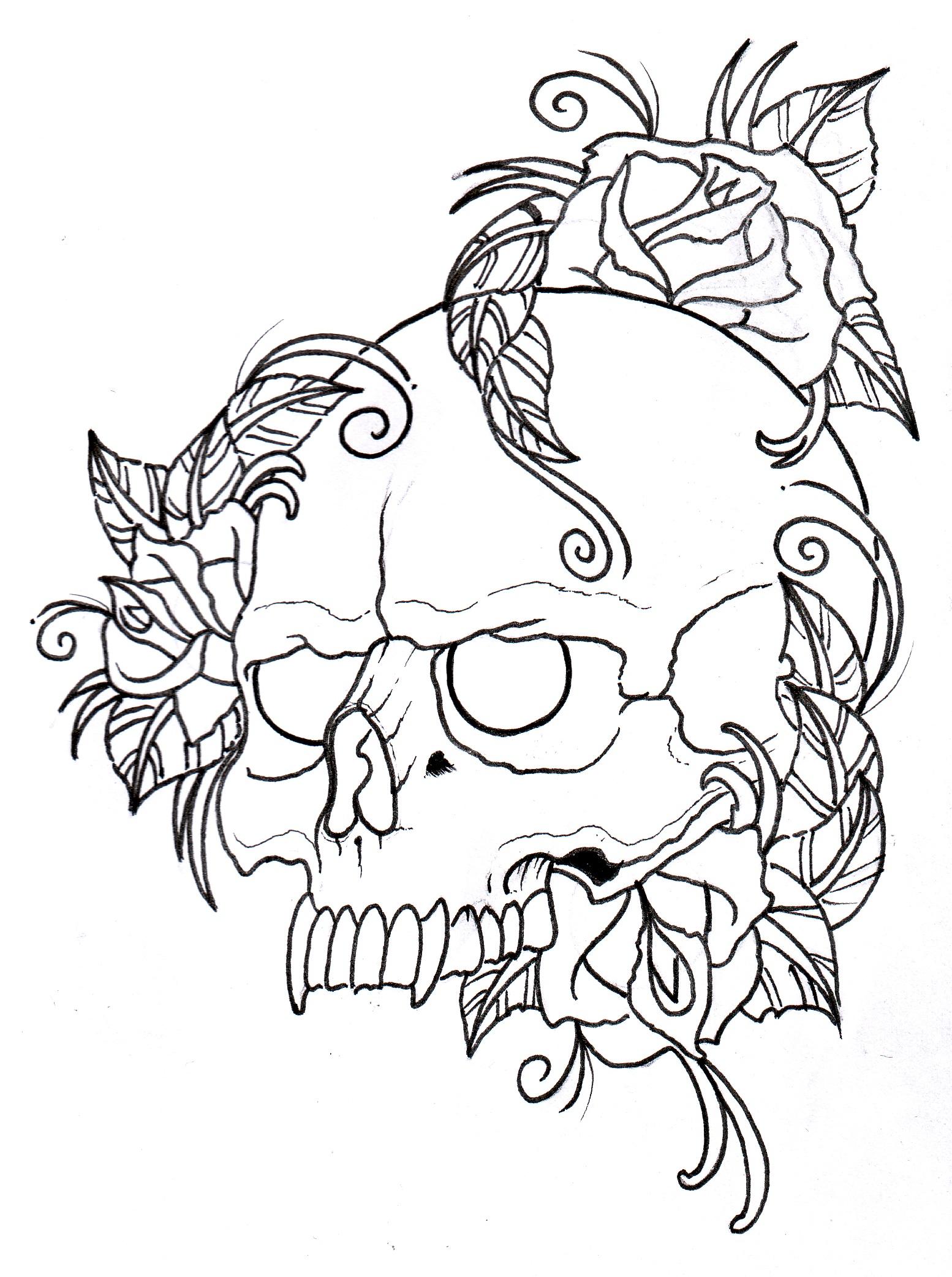 Тату роза с черепом эскиз