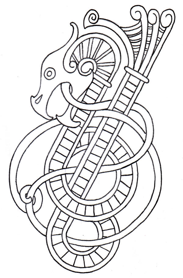 Viking Dragon Outline 2 by vikingtattoo