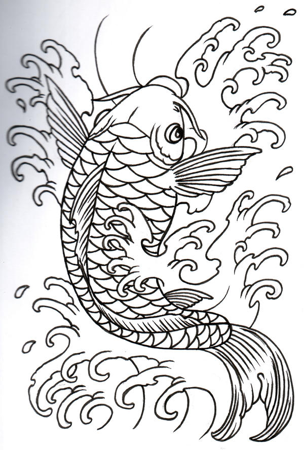 Koi Outline 09 by vikingtattoo