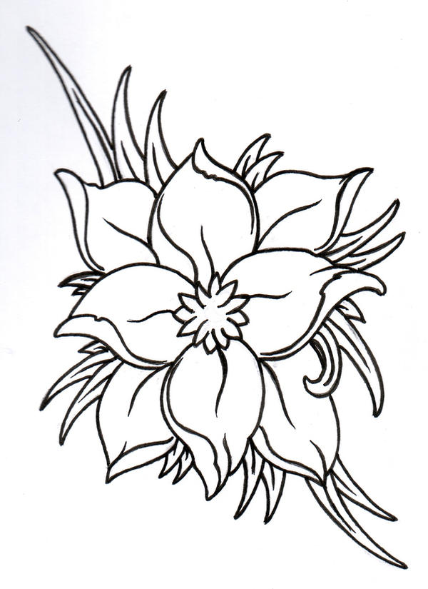 Fantasy Flower 2 Outline by vikingtattoo
