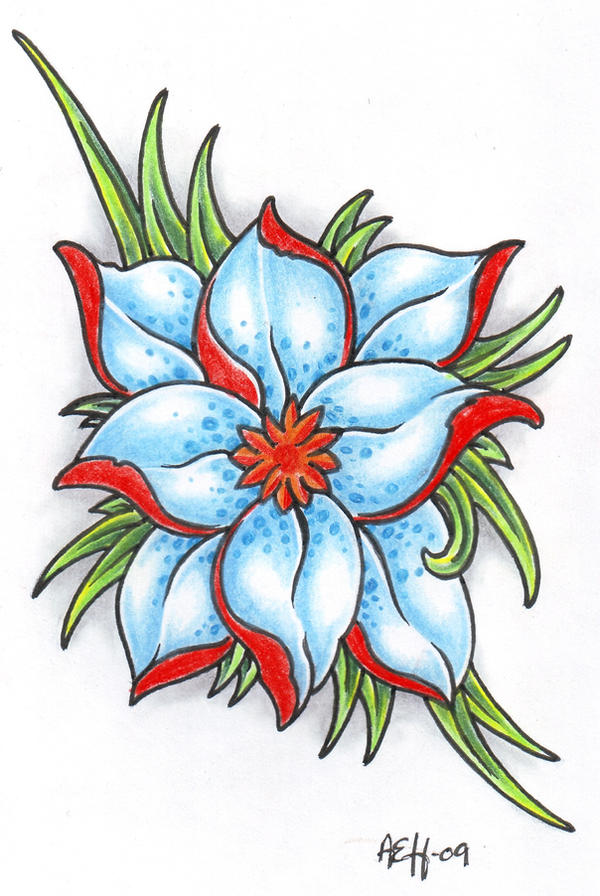 Fantasy Flower 2 - flower tattoo