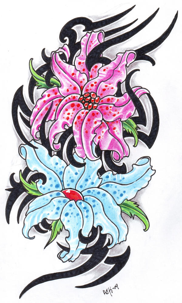 fantasy flowers with tribal by vikingtattoo on deviantart