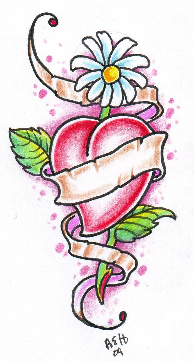 Heart Daisy Tattoo: Daisy Heart By Vikingtattoo On DeviantArt