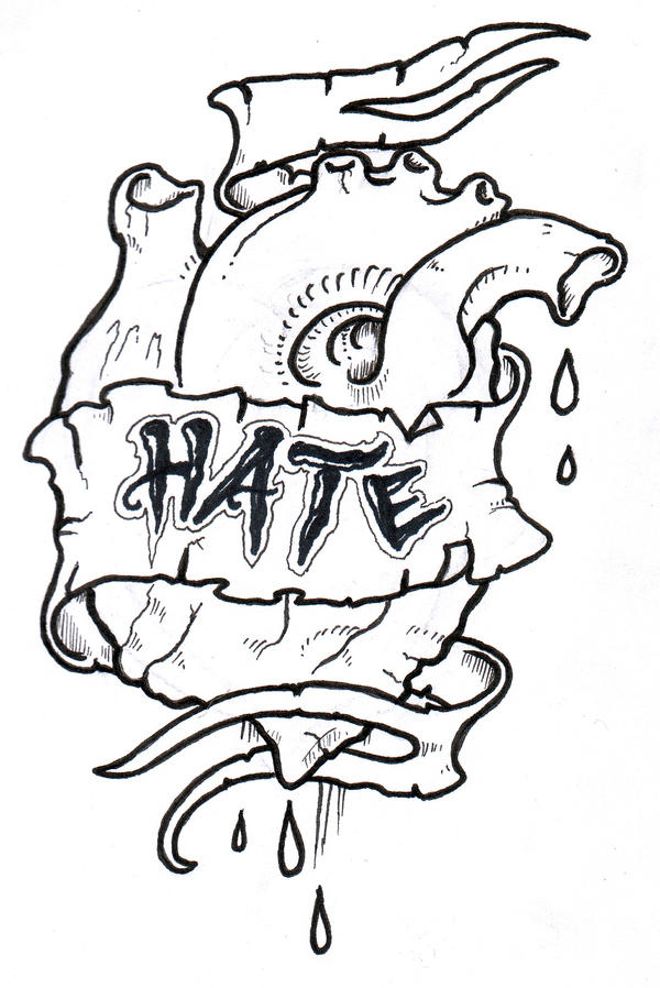 Love Tattoo Outlines: Heart O Hate Outline By Vikingtattoo On DeviantArt