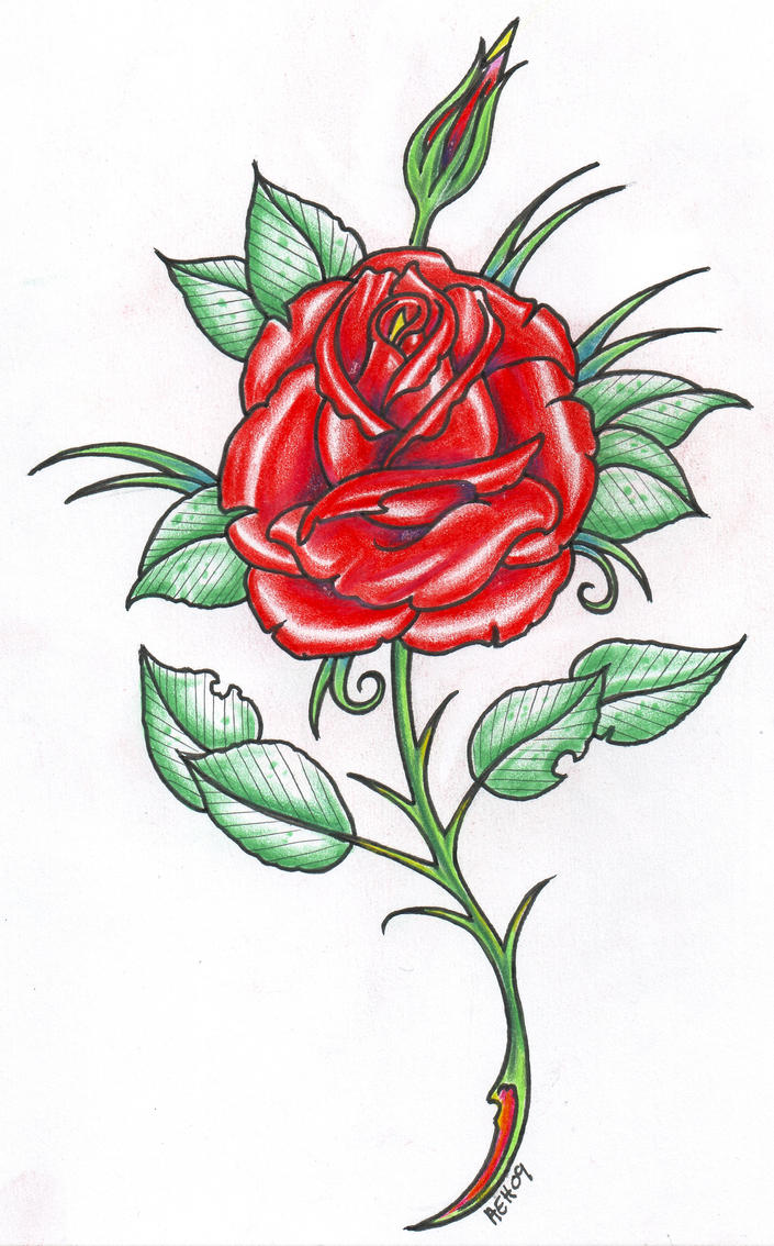 Rose tattoo 09 by vikingtattoo on deviantart for Rose with stem tattoo designs