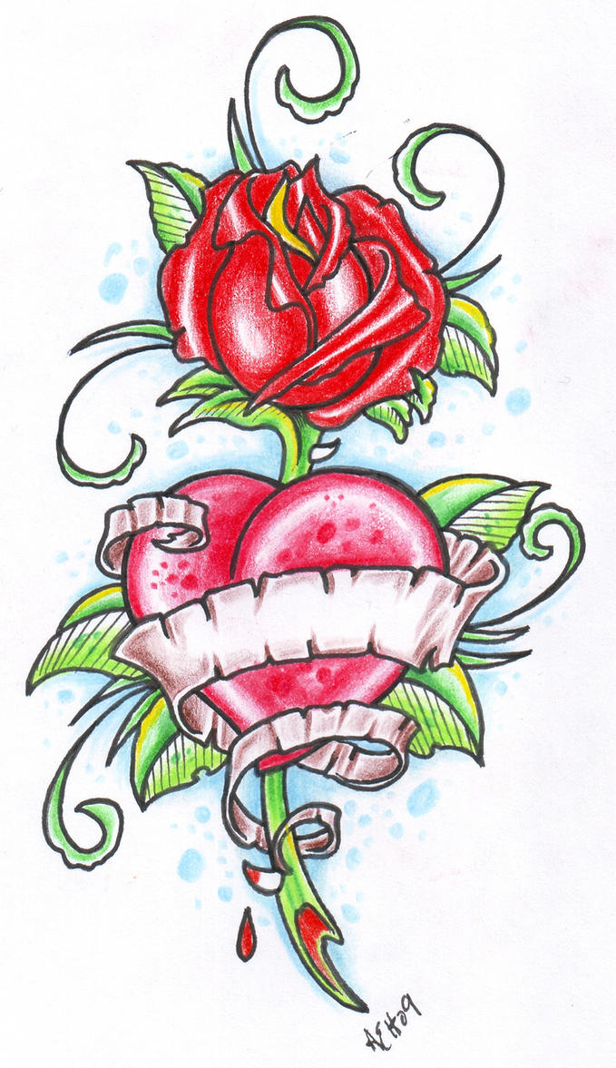 Heart With Rose And Banner