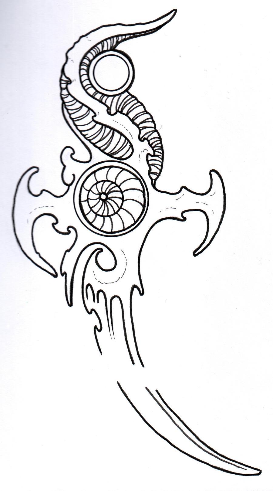 Biomech Dagger Outline by vikingtattoo on DeviantArt Traditional Dagger Tattoo Outline