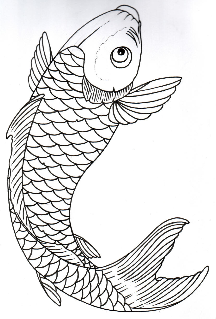 The gallery for girly koi fish outline for Coy poisson