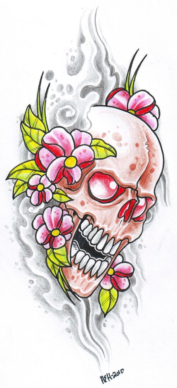 Pink flower skull by vikingtattoo on deviantart pink flower skull by vikingtattoo mightylinksfo
