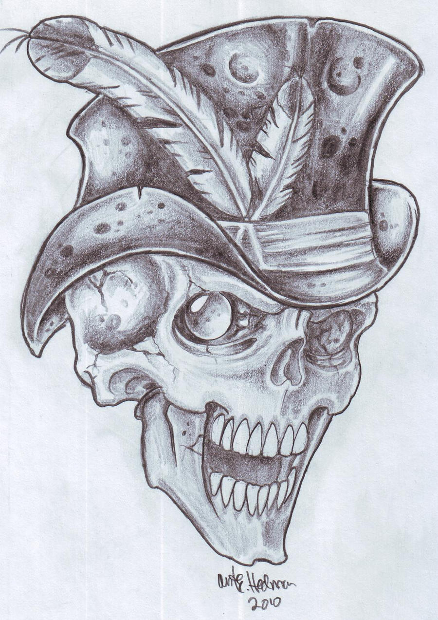 Gangsta Skull Pencil Drawing By Paythapiper Pictures