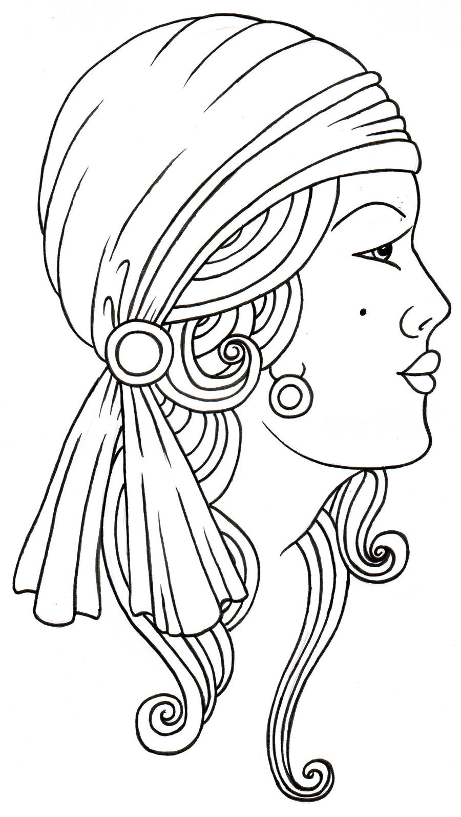 Tattoo Drawing Outline : Gypsy lady luck tattoo by vikingtattoo on deviantart