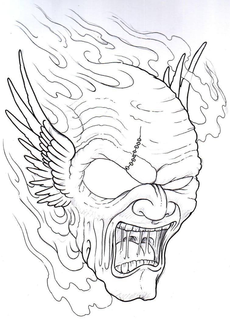 Devil Face Line Drawing : Winged demon tattoo sketch by vikingtattoo on deviantart