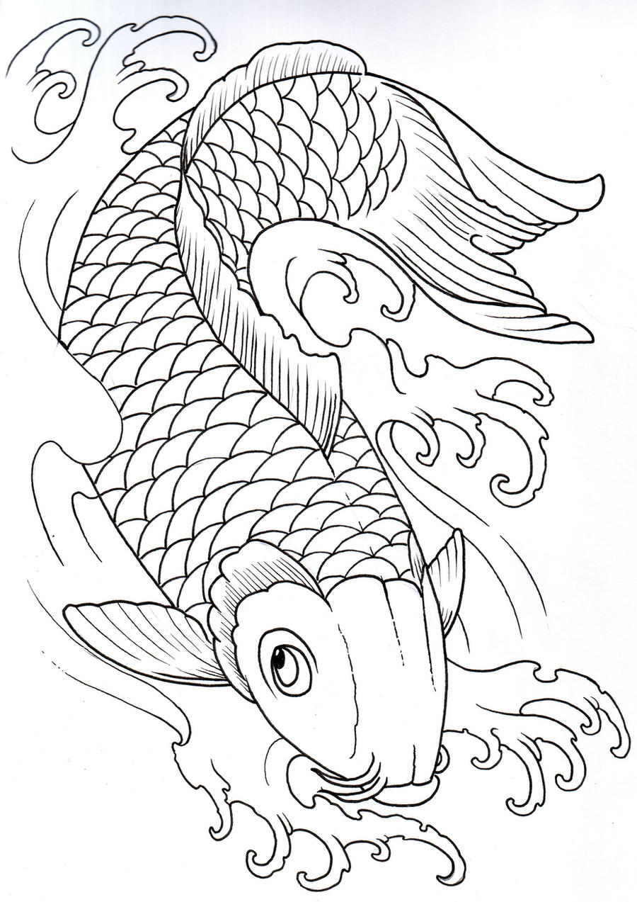 koi outline 2 by vikingtattoo on deviantart. Black Bedroom Furniture Sets. Home Design Ideas