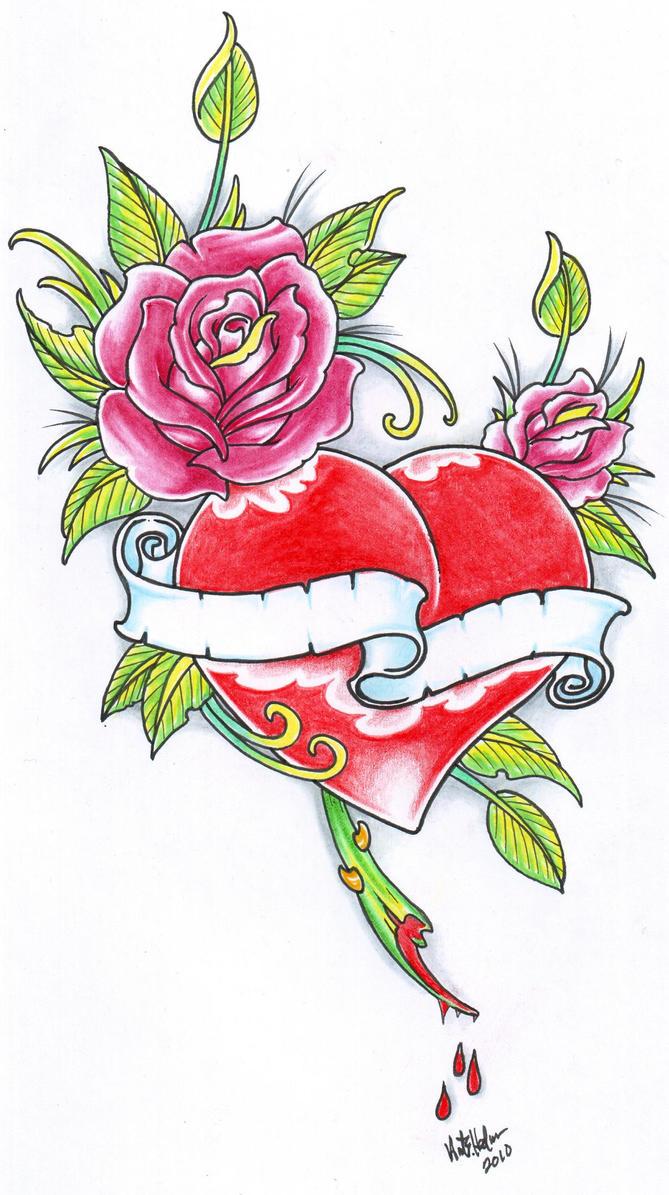 rose and heart tattoo 2010 by vikingtattoo on deviantart. Black Bedroom Furniture Sets. Home Design Ideas