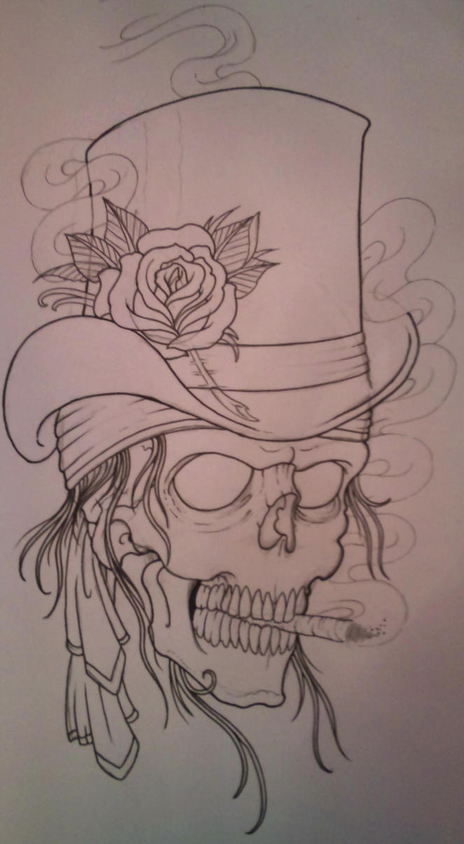top hat skull outline by vikingtattoo on deviantart. Black Bedroom Furniture Sets. Home Design Ideas