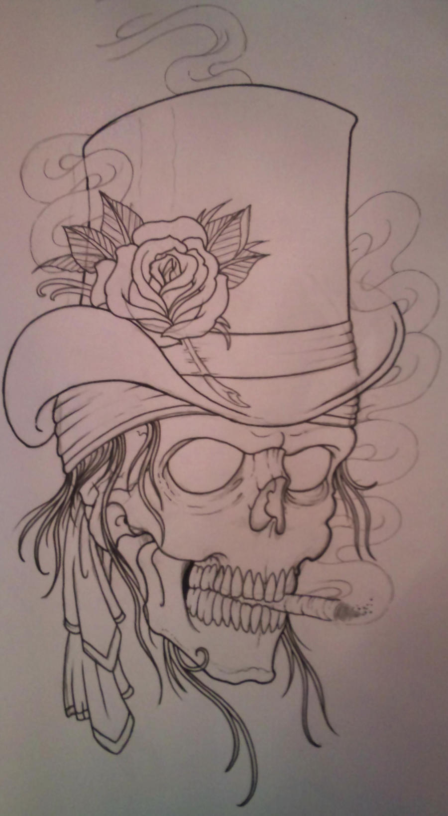 top hat skull outline by vikingtattoo on deviantart. Black Bedroom Furniture Sets. Home Design Ideas