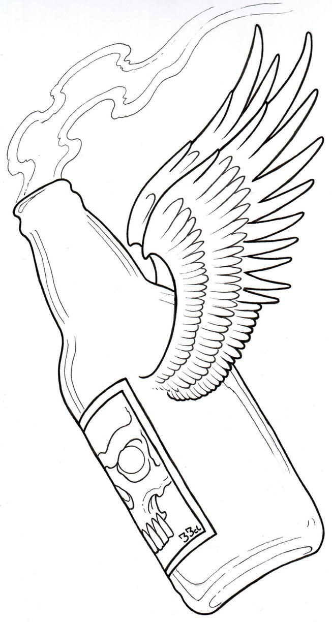 Tattoo Flash Line Drawing Converter : Beer bottle tattoo flash by vikingtattoo on deviantart