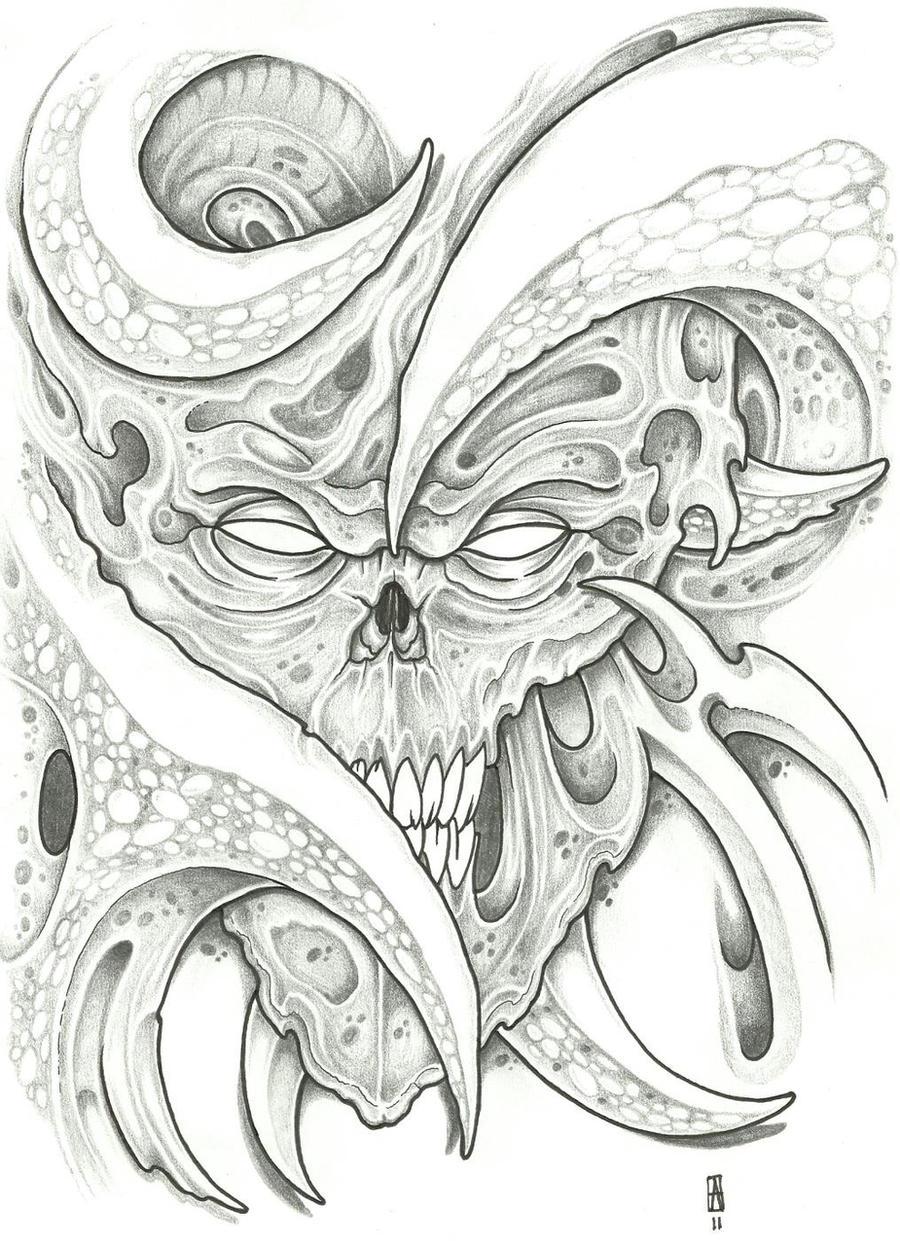 Bioorganic Skull Tattoo 1 by