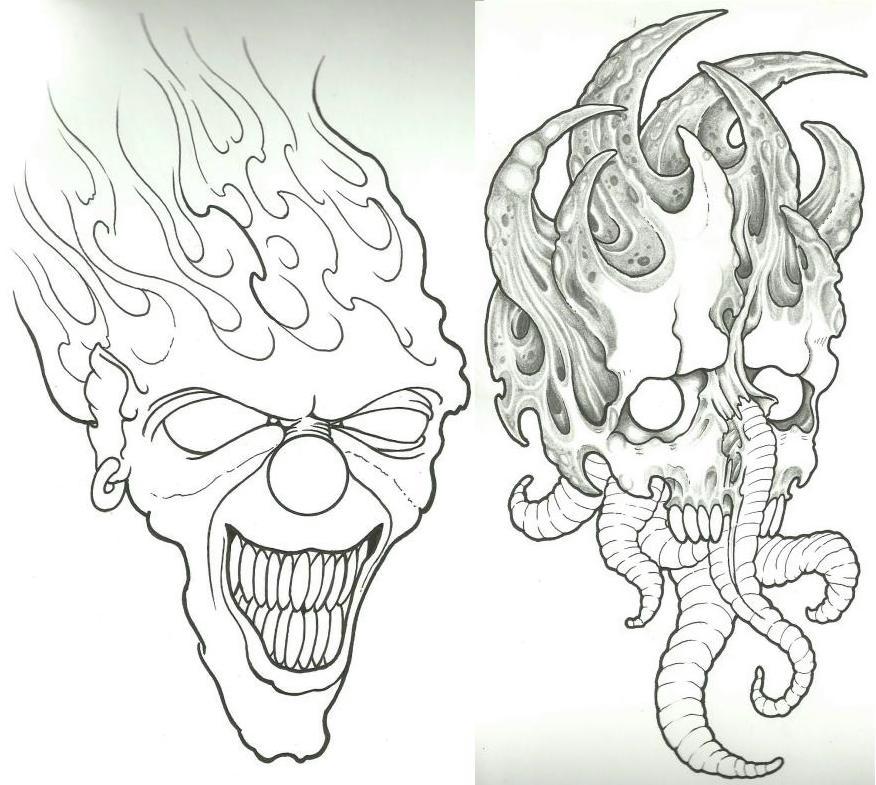 Skull Line Drawing Tattoo : Clown skull wip by vikingtattoo on deviantart