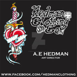 Hedman Clothing Co. Business card and sticker.