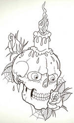 Candle Skull Outline