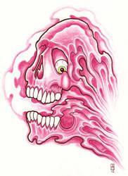 Pink Disintegrating skull Tattoo