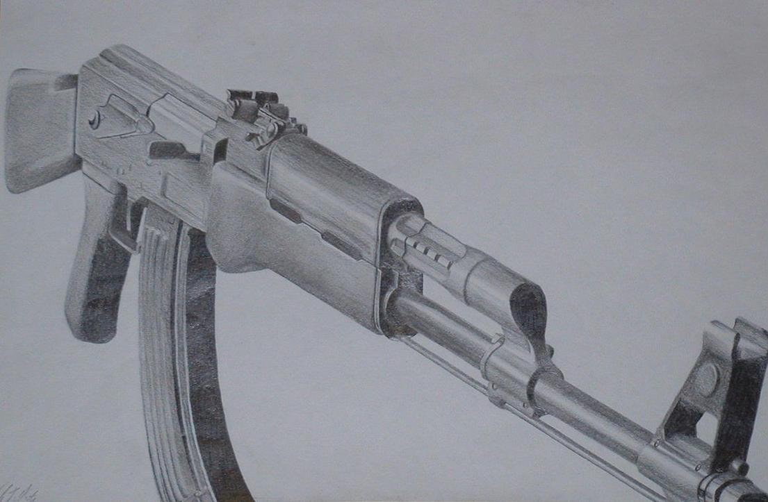 how to draw a ak 47 gun