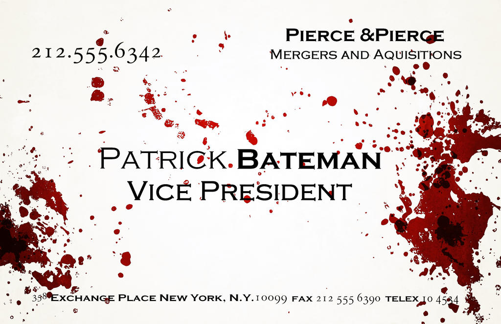 American Psycho Business Card Poster by trickytreater on DeviantArt