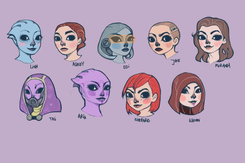 Mass Effect Girls by rynarts