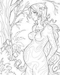Pregnant forest girl
