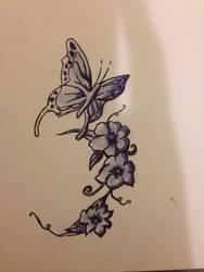 Butterflies and flowers - biro