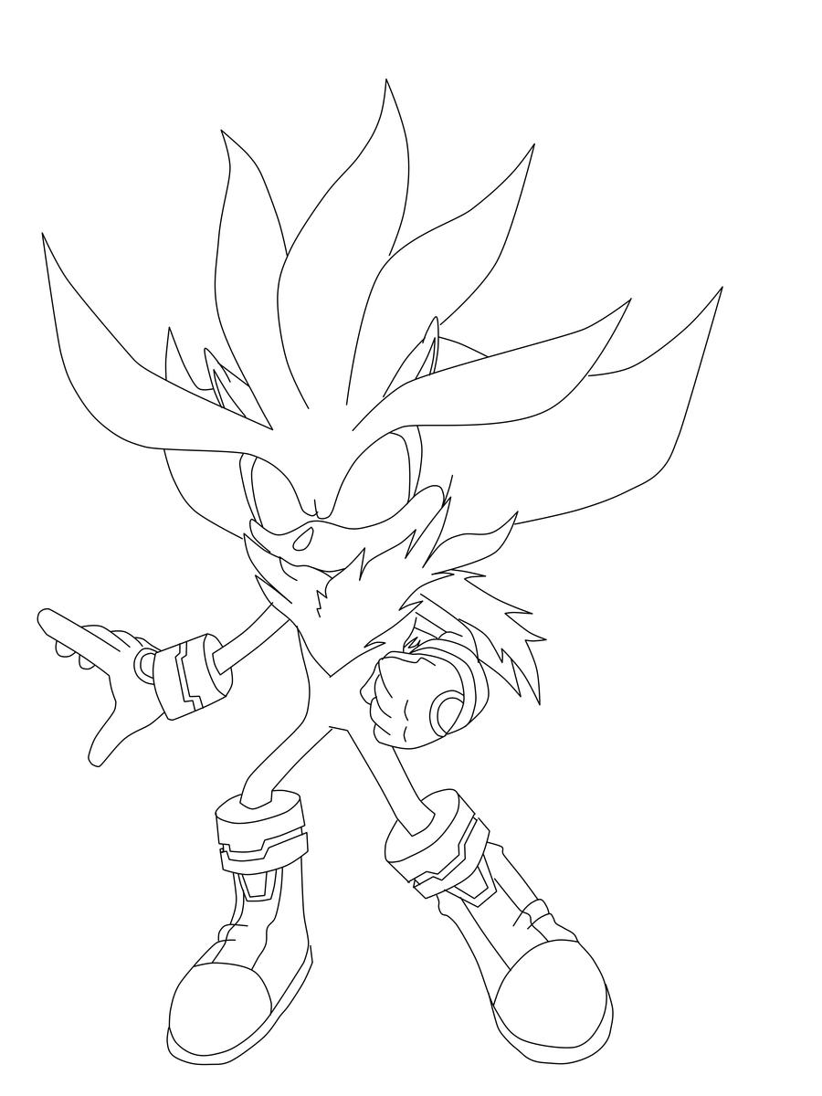 super sonic shadow and silver coloring pages
