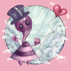 Mr.Purple and his flying heart by akinna