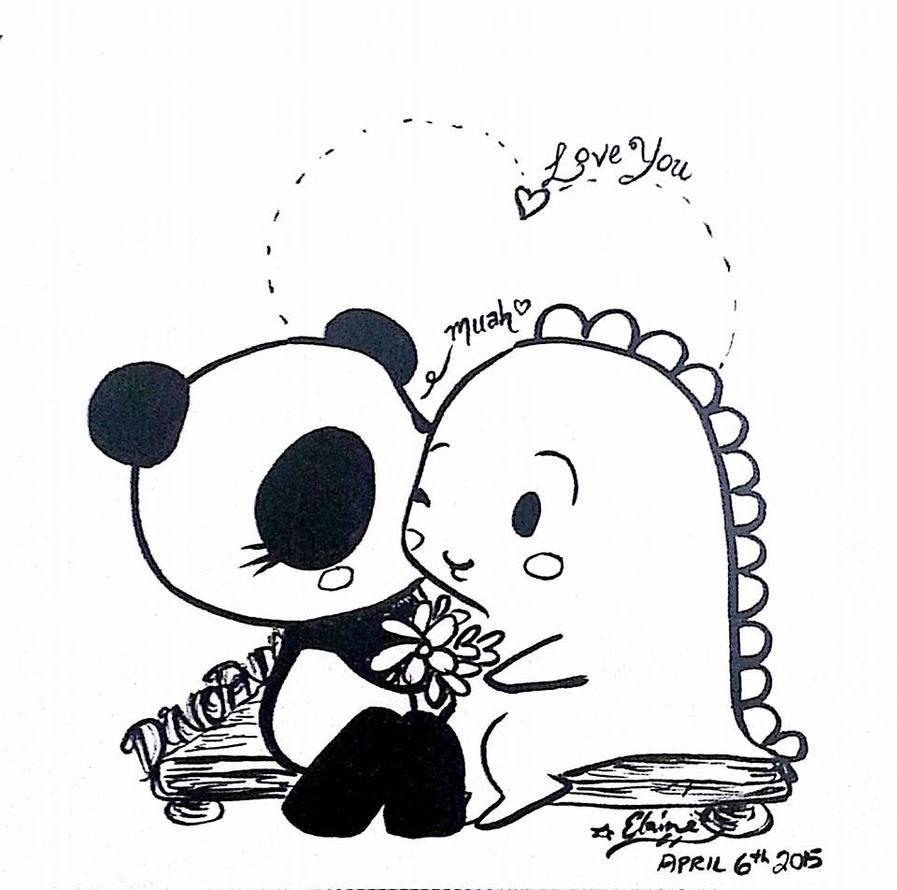 Dino + Panda sweet kiss by MelodicInterval