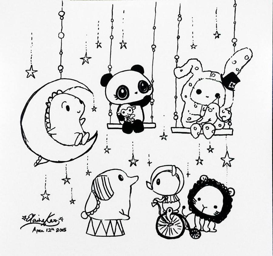 Dino + Panda meet Sentimental Circus by MelodicInterval